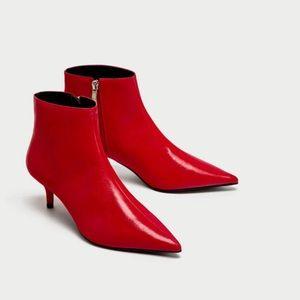 Zara red faux leather kitten heel booties